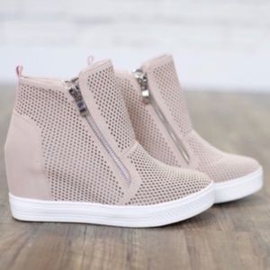 Blush Perforated Wedge Sneaker